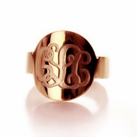 Engraved Script Rose Gold Monogrammed Ring