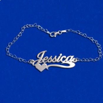 Side Heart Silver Name Bracelet/Anklet