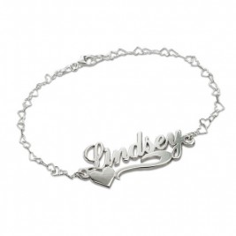 Side Heart Silver Name Bracelet/Anklet