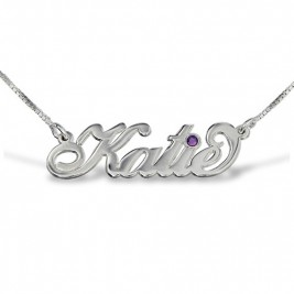 "Silver ""Carrie"" Style Swarovski Name Necklace"