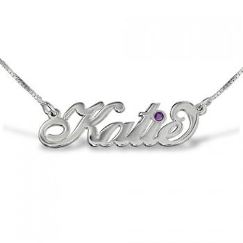 "Silver ""Carrie"" Style Swarovski Name Necklace"