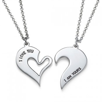 Silver Couples Breakable Heart Necklace