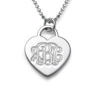 Silver Engraved Monogram Initials Heart Pendant