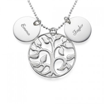 Engraved Disc Cut Out Family Tree Necklace