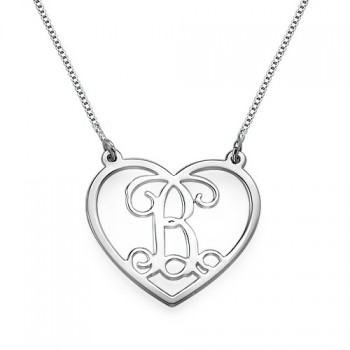 Silver Heart Initials Necklace