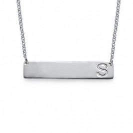 Silver Horizontal Initial Bar Necklace