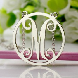 Sterling Silver Small Single Circle Monogram Letter Necklace