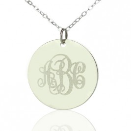 Engraved Disc Monogram Necklace Sterling Silver