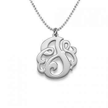 Silver Swirly Initial Necklace