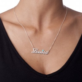 Silver and Swarovski Crystal Name Necklace