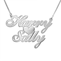 Silver Two Names  Heart Love Necklace