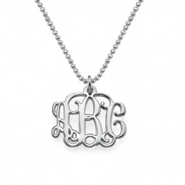 Small Silver Monogram Necklace - Smaller Version