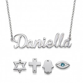 Sterling Silver Charm Name Necklace