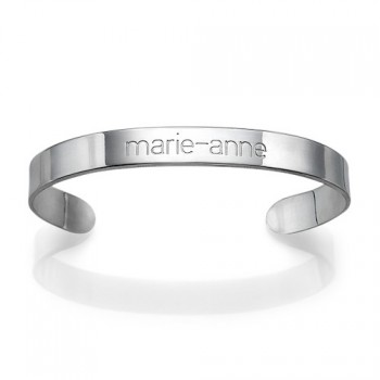 Engraved Cuff Bracelet in Silver