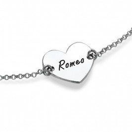 Sterling Silver Engraved Heart Couples Bracelet/Anklet