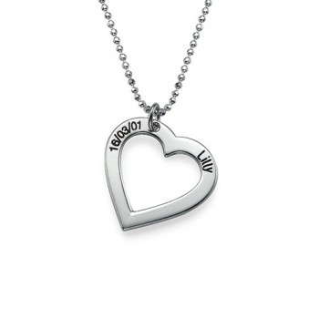 Sterling Silver Engraved Heart Necklace-One Pendant/Two Pendants/More Pendants