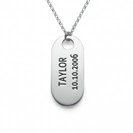 Sterling Silver ID Tag Necklace