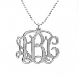 Sterling Silver Initials Monogram Necklace