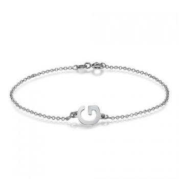 Sterling Silver Sideways Initial Bracelet/Anklet