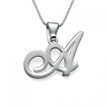 Sterling Silver Initials Pendant With Any Letter