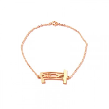 Personal Rose Gold Plated 925 Silver 3 Initials Monogram Bracelet/Anklet