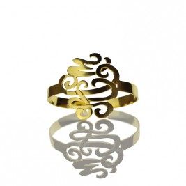 Monogram Cuff Bracelet Hand Write 18ct Gold Plated
