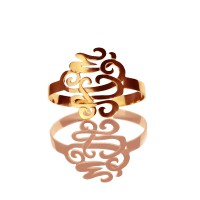 Monogram Cuff Bracelet Bangle Hand Writing Rose Gold