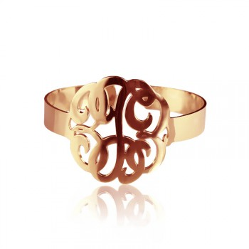 Hand Drawing Monogram Initial Bracelet 1.6 Inch 18ct Rose Gold Plated