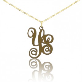 Acrylic Vine Monogram Two Initials Necklace