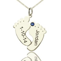 Personalised Memory Feet Necklace with Date  Name Sterling Silver