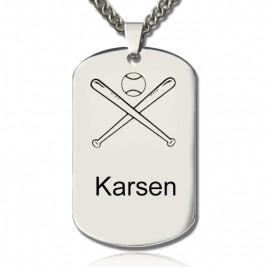 Baseball Dog Tag Name Necklace