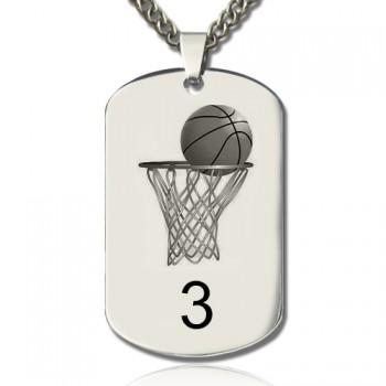Basketball Dog Tag Name Necklace