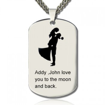 Couple Love Dog Tag Name Necklace