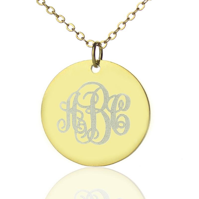 0c1c0dcd24b99 18ct Gold Plated Vine Font Disc Engraved Monogram Necklace