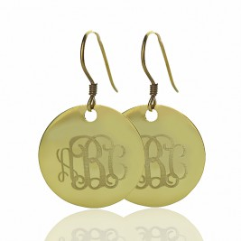 Solid 18ct Gold Circle Signet Monogram Earring