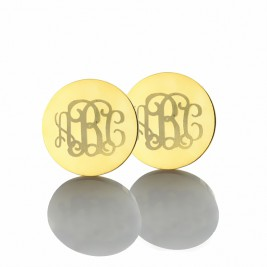 Circle Monogram 3 Initial Earrings Name Earrings 18ct Gold Plated