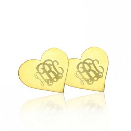 Heart Monogram Earrings Studs Cusotm Solid 18ct Gold