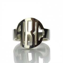 Circle Block Monogram 3 Initials Ring Solid White Gold Ring