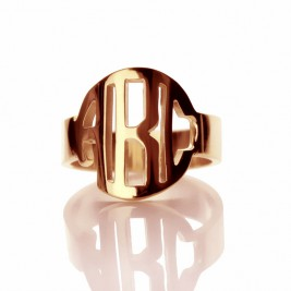 Personalised Circle Block Monogram 3 Initials Ring Solid Rose Gold Ring