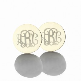 Circle Monogram 3 Initial Earrings Name Earrings Solid 18ct White Gold