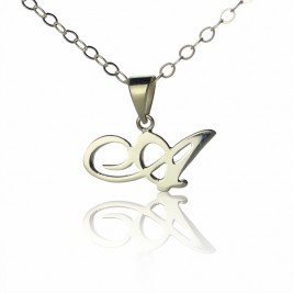 Personalised Madonna Style Initial Necklace Solid White Gold