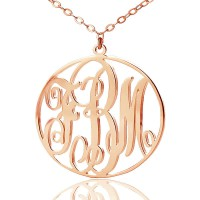 Personalised 18ct Rose Gold Plated Vine Font Circle Initial Monogram Necklace