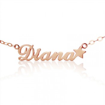 18ct Rose Gold Plated Carrie Style Name Necklace With Star