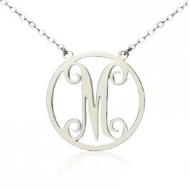 Solid White Gold 18ct Single Initial Circle Monogram Necklace