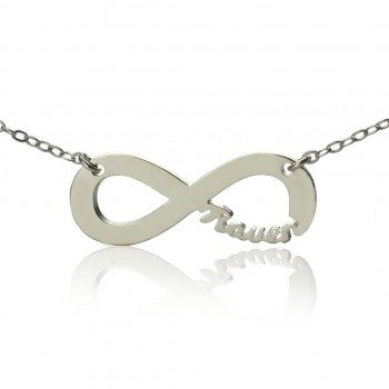 Solid White Gold 18ct Infinity Name Necklace