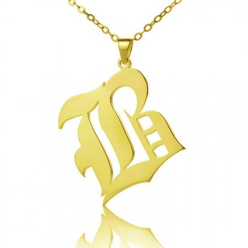 Solid 18ct Gold Plated Old English Style Single Initial Name Necklace