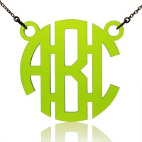 Custom Acrylic 3 Initials Monogram Pendant Necklace