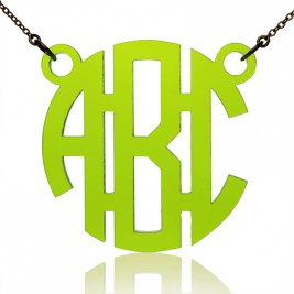 Custom Acrylic 3 Initials Monogram Pendant Necklace