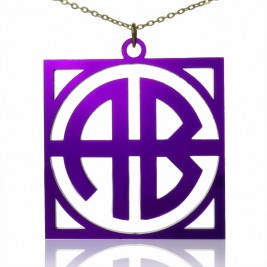 Colorful Acrylic Block Monogram Necklace