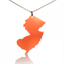 Acrylic New Jersey States Necklace American Map Necklace
